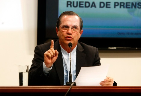 Ecuador's Foreign Minister Ricardo Patino speaks during a news conference in Quito